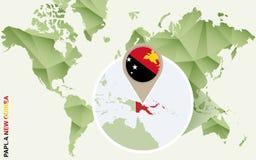 Infographic para Papuásia-Nova Guiné, mapa detalhado de Papuásia-Nova Guiné com bandeira ilustração royalty free