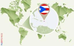Infographic para Porto Rico, mapa detalhado de Porto Rico com bandeira ilustração royalty free