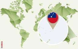 Infographic para Samoa, mapa detalhado de Samoa com bandeira ilustração do vetor