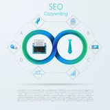 Infographic para SEO ou copywriting com listra de Mobius Imagem de Stock