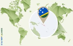 Infographic para Solomon Islands, mapa detalhado de Solomon Islands com bandeira ilustração royalty free