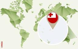 Infographic para Tonga, mapa detalhado de Tonga com bandeira ilustração do vetor