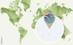 Infographic para Tuvalu, mapa detalhado de Tuvalu com bandeira ilustração royalty free