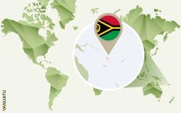Infographic para Vanuatu, mapa detalhado de Vanuatu com bandeira ilustração do vetor