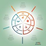 Infographic Pasztetowej mapy szablonu okręgu pięć colourful pozycje Zdjęcie Royalty Free