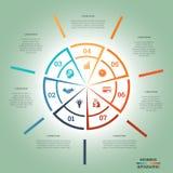 Infographic Pasztetowej mapy szablonu okręgu siedem colourful pozycje Obraz Stock