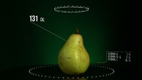 Infographic of Pear with vitamins, microelements minerals. Energy, calorie and component stock footage