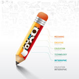 Infographic pencil with gear doodles line drawing. Idea. Vector illustration.education concept.can be used for layout, banner and web design Royalty Free Stock Photography