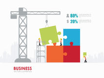 Infographic people with puzzle template design. Infographic Template with crane and jigsaw building vector illustration