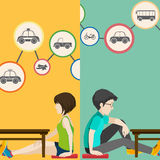 Infographic with people and transportation Stock Photos