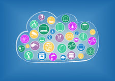 Infographic per la nuvola che computa nell'era di Internet delle cose a titolo dimostrativo Fotografie Stock Libere da Diritti