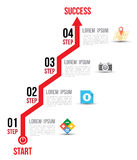 Infographic-Pfeildiagramm-Diagrammwahlen mit flachen Ikonen für Plandesignschablone Stockbild