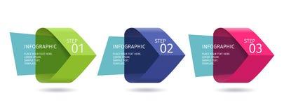 Infographic-Pfeile mit 3 steigern Wahlen und Glaselemente Vektorschablone in der flachen Designart Lizenzfreie Stockfotografie