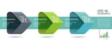 Infographic-Pfeile mit 3 steigern Wahlen und Glaselemente Vektorschablone in der flachen Designart Stockfoto