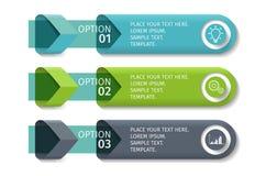 Infographic-Pfeile mit 3 steigern Wahlen und Glaselemente Vektorschablone in der flachen Designart Stockfotografie