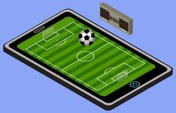 Infographic piłki nożnej boisko, piłka i pastylka, Isometric piłka nożna wizerunek odosobniony Fotografia Royalty Free