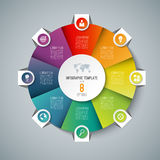 Infographic pie chart circle template with 8 options. Royalty Free Stock Photos