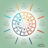 Infographic Pie chart template colourful circle eight positions Stock Image