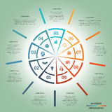 Infographic Pie chart template colourful circle nine positions Royalty Free Stock Image