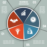 Infographic Pie chart template five positions Royalty Free Stock Image