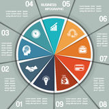 Infographic Pie chart template nine positions Stock Photography