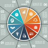 Infographic Pie chart template ten positions Royalty Free Stock Photos