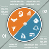 Infographic Pie chart template two positions Royalty Free Stock Photos