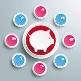 Infographic Piggy Bank Circles With Wishes PIAd Royalty Free Stock Photo
