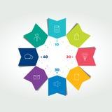 infographic pilar för färg för cirkel för affär 3D Diagrammet kan användas för presentationen, nummeralternativ, workfloworienter Arkivbild