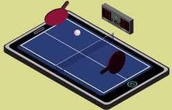 Infographic ping pong blue tennis playground, ball, and rackets. Isometric image. Royalty Free Stock Photos