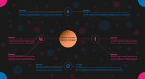 Infographic in pink and blue colors. With text fields and icons Royalty Free Stock Images
