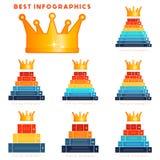 Infographic a placé des calibres modernes pour 3,4,5,6,7,8,9 étapes, pro illustration libre de droits