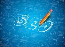 Infographic-Plan für SEO Concept-Hintergrund Lizenzfreie Stockfotos