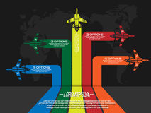 Infographic plane five options second edition Royalty Free Stock Images