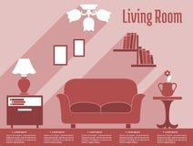 Infographic plano interior de la sala de estar con el texto Imagenes de archivo