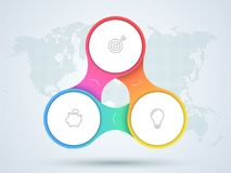 Infographic 3 Point Business Diagram With World Map. 3d, colorful 3 step linked circles that form a business cycle infographic with blank, white space for text Royalty Free Illustration