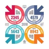 Infographic pojęcia biznesowa ilustracja banner twórczej Abstrakcjonistyczny układ z okręgiem, strzała, ikony cztery elementy pro ilustracji