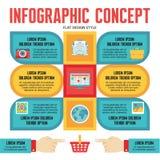 Infographic pojęcie dla prezentaci w Płaskim projekta stylu - Wektorowy plan z ikonami Obrazy Royalty Free