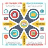 Infographic pojęcie dla prezentaci w Płaskim projekta stylu - Wektorowy plan z ikonami ilustracji