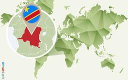 Infographic pour la République démocratique du Congo, carte détaillée de transporteur avec le drapeau illustration libre de droits