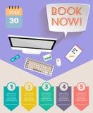 Infographic pourpre d'heure d'été, avec le texte de réservez dès maintenant, l'ordinateur et les accessoires de voyage Photo libre de droits