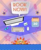 Infographic pourpre d'heure d'été, avec le texte de réservez dès maintenant, les icônes et les accessoires de voyage Images stock