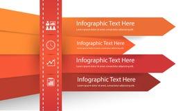 Infographic présentant des points d'affaires dans les lignes ayant différentes couleurs - vecteur illustration stock