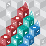 Infographic Presentation with Flat Icons. On cube and numbered color arrow Royalty Free Stock Photography