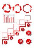 Infographic prezentaci szablon z setem elementy, jeździć na rowerze arow diagram, prętowa mapa, pięć krok proces, tak, żadny guzi Ilustracji