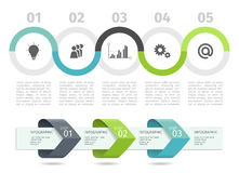 Infographic process chart and arrows with step up options. Vector template.