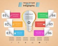 Infographic projekt Żarówka, Lekka ikona Zdjęcia Royalty Free