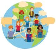 Infographic projekt z ludźmi i światem Fotografia Royalty Free