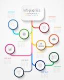 Infographic projekta elementy dla twój biznesowych dane z opcjami, częściami, krokami, liniami czasu lub procesami 9, wektor Obraz Stock