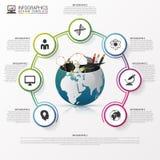 Infographic projekta szablon świat z biznesowym materiałem Obrazy Royalty Free
